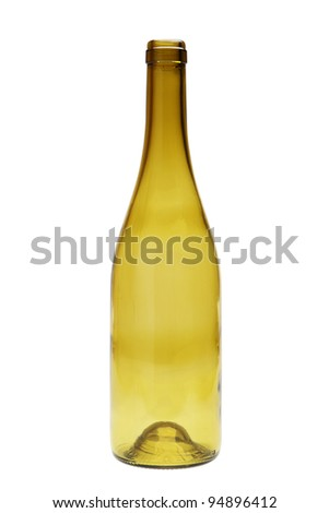 empty green glass bottle isolated over white background with clipping path