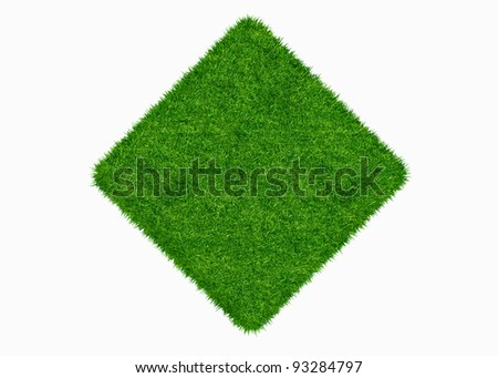 Empty green grass blank isolated 3d model