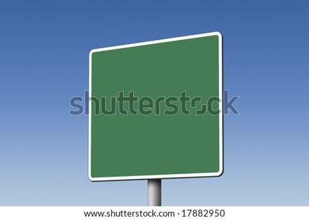 Empty green road sign against blue sky