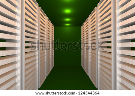 Empty green room for modern interior of server room in datacenter