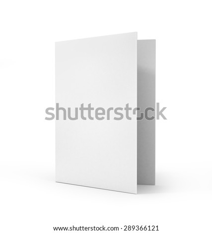 Empty greeting card isolated on white background.