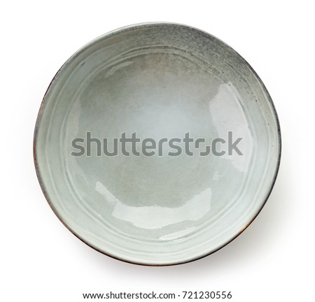 Empty grey bowl isolated on white background, top view Stock photo ©