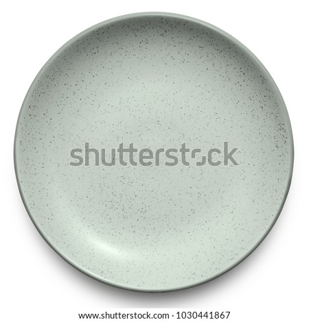 Empty grey marble plate isolated on white background with clipping path.