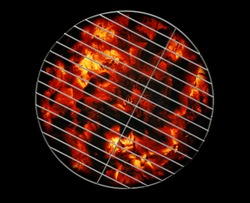 empty grill with ember coal,barbecue background