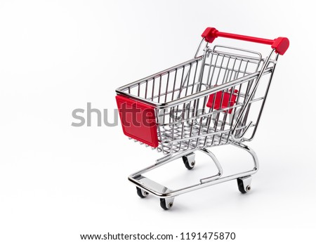Empty grocery shopping cart. Isolated over white background. #1191475870