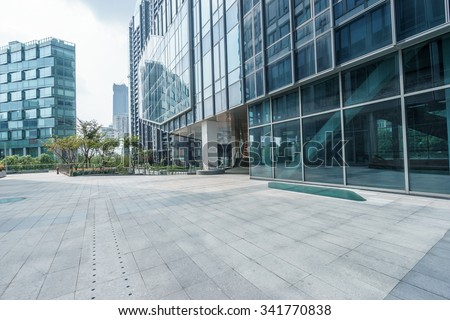 empty ground front of modern buildings