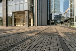 empty ground in front of modern office building