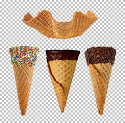 Empty group of different ice cream cones collection on isolated background including clipping path