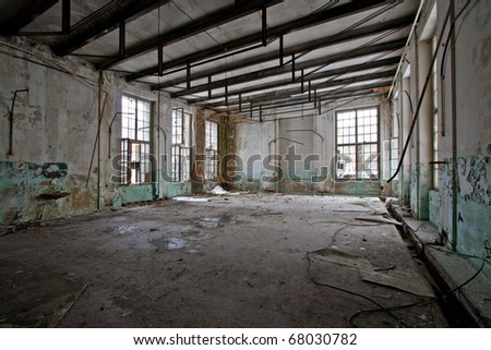empty grunge abandoned hall