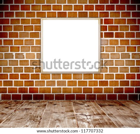 Empty grunge brick wall  interior room with empty old wood frame and wooden plank floor