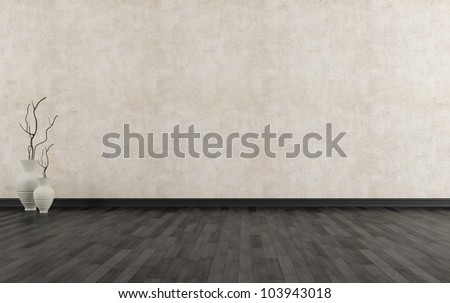 Empty grunge interior with black parquet-rendering