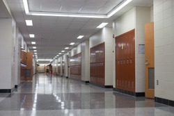 Empty hall during the classes in American college. Hallway