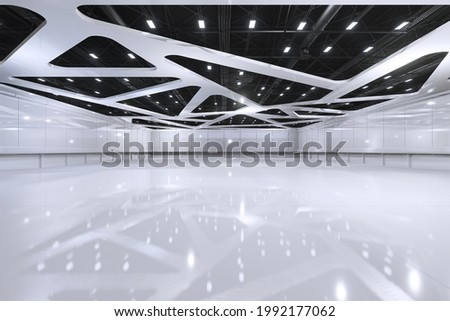 Empty hall exhibition centre.The backdrop for exhibition stands,booth elements. Conversation centre for the conference.Big Arena for entertainment,concert,event. Indoor stadium for sport.3D render.