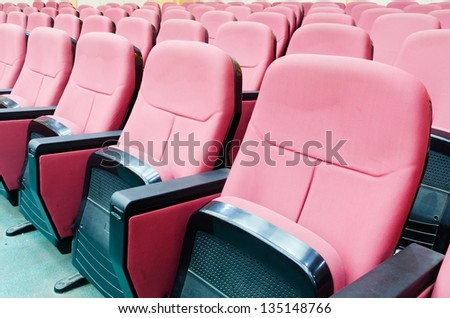 Empty hall for presentation with red armchairs #135148766