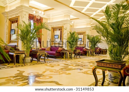 empty hall in hotel with marble floor