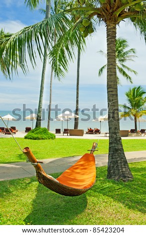 Empty hammock between palms trees