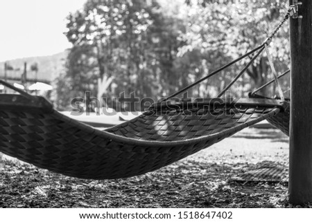 Empty Hammock in park. Relaxing in autumn forest concept.
