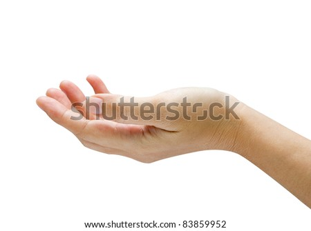 Empty hand isolated on white background
