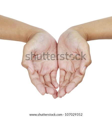Empty hand palm showing something  isolated on white background.