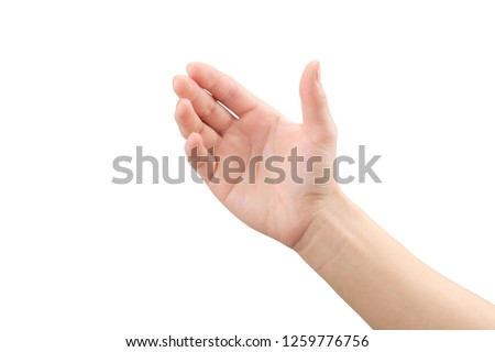 Empty Hand showing gesture holding the bottle, smartphone or something isolated on white background with clipping path. #1259776756