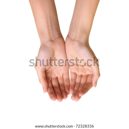 Empty hands isolated on white background - stock photo