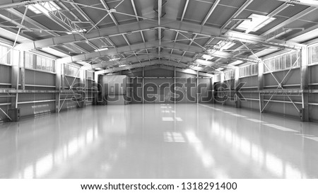 empty Hangar delivery warehouse 3d render illustration