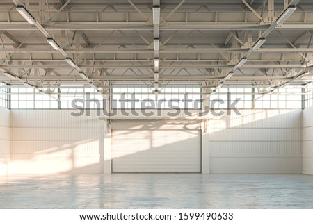 Empty Hangar, Empty Factory Interior or Empty Warehouse With Roller Shutter Door and Concrete Floor. 3d rendering