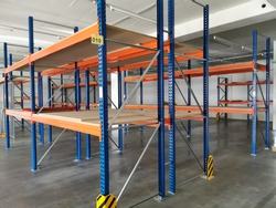empty heavy duty racks in a company as production is at a standstill