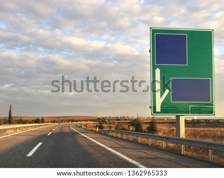 Empty highway and highway sign #1362965333