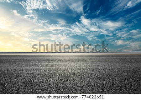 Empty highway asphalt road and beautiful sky sunset landscape #774022651