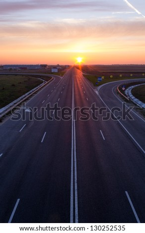 empty highway in beautiful light  at sunrise