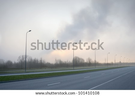 Empty highway in the early morning
