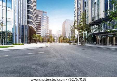 empty highway with cityscape and skyline of qingdao,China. ストックフォト ©