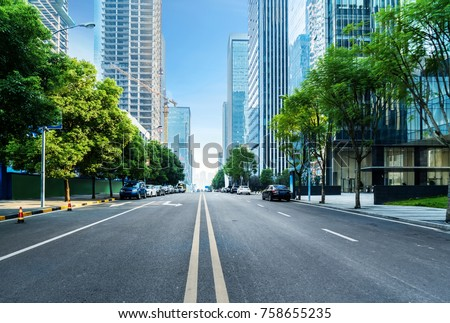 empty highway with cityscape of chongqing,China