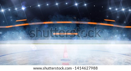empty Hockey rink sport arena  ice and light