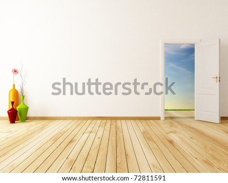 empty home entrance with open door -rendering-the image on background is a my rendering composition
