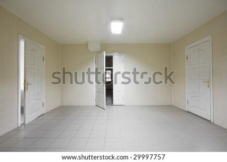 Empty hospital hall with the doors