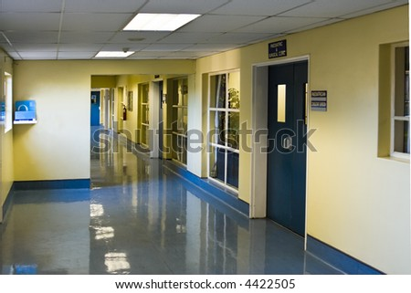 empty hospital hallway, perspective view, healthcare series