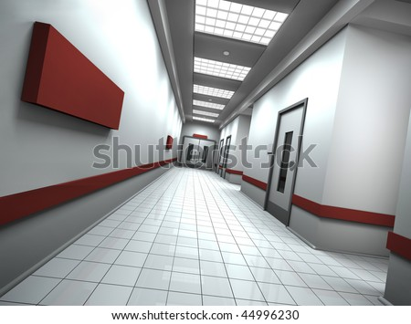 Empty hospital/office corridor with empty sign on the wall. 3D rendered image.
