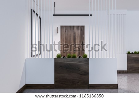 Empty hotel or business center corridor with closed wooden doors, white walls and a concrete floor. Flowerbeds. 3d rendering mock up
