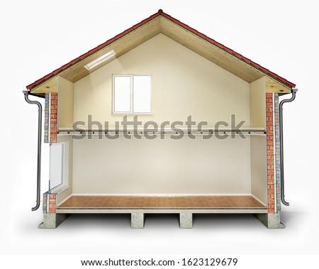 Empty house cross section, 3d illustration Stock photo ©