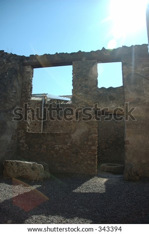 empty house in Pompeii, Italy. Town destroyed by volcano 2000 years ago.