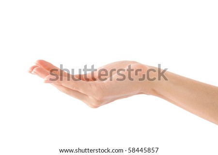 Empty Human Hand (Beauty Woman hand) on isolated white