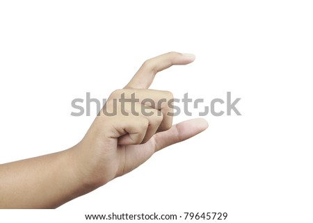 Empty human hand isolated on white background