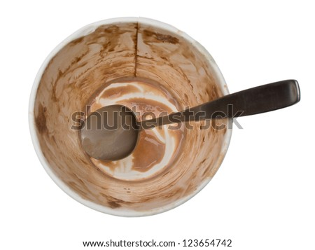 Empty ice cream container. The dirty spoon and the paper tub smeared with chocolate are all that's left of this pint of ice cream. Isolated on a white background