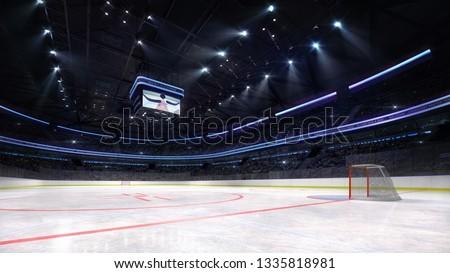 empty ice hockey arena inside playground view illuminated by spotlights, hockey and skating stadium indoor 3D render illustration background, my own design