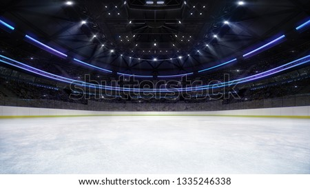 empty ice rink arena inside view illuminated by spotlights, hockey and skating stadium indoor 3D illustration background, my own design
