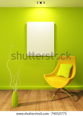 Empty illustration in modern interior. Gallery and armchair with vase