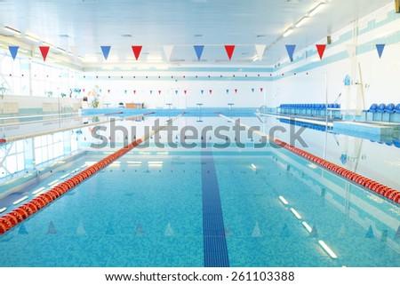 Empty indoors public swimming pool  #261103388