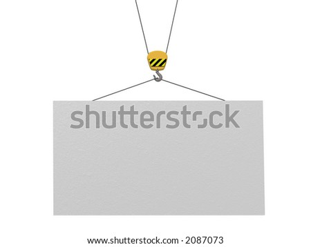 empty information board and crane - stock photo